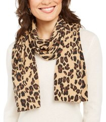 charter club leopard-print cashmere scarf, created for macy's