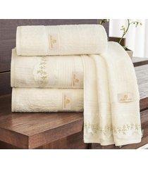 jogo de toalhas (banho e rosto) gigante coleção aspen palha algodão 400 fios com 5 peças - ruth sanches,