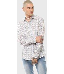 camisa casual print fondo marino multicolor soviet