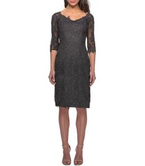 women's la femme lace sheath dress, size 4 - metallic
