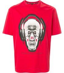 blackbarrett headphone skull cotton t-shirt - red