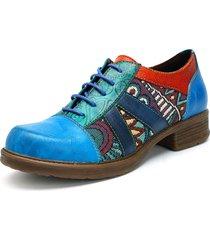 socofy retro casual scarpe basse in pelle con jacquard splicing con lacci