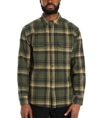 wolverine glacier heavyweight long sleeve flannel shirt forest plaid, size l