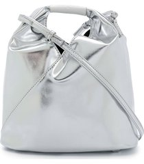 mm6 maison margiela metallic ruched tote bag - grey