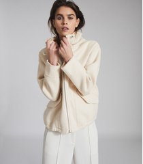 reiss cali - wool blend hooded jacket in neutral, womens, size l