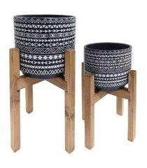 duo de cachepots de cerâmica tribal e suporte de madeira