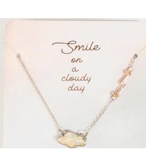 smile on a cloudy day pendant necklace - silver