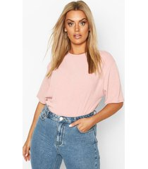 plus soft rib oversized t-shirt, pink