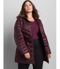 lane bryant women's shirred-side packable puffer jacket 18/20 winetasting