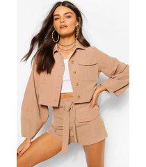 geweven utility blouse met knopen en shorts set, kameel
