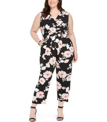 jessica howard plus size floral jersey jumpsuit