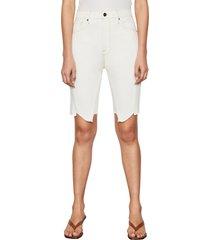 frame high waist jagged hem denim bermuda shorts, size 26 in vintage white at nordstrom