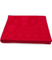 alexander mcqueen toalha de praia com bordado - vermelho