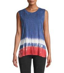 c & c california women's pamela tank top - indigo tie dye - size s