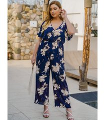 plus talla azul marino cinturón diseño estampado floral escote en v manga corta mono