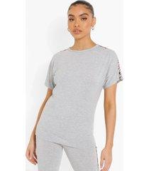 oversized luipaardprint t-shirt met zijstreep, grey marl