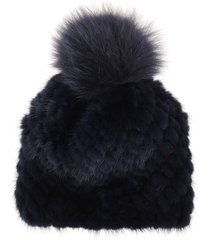 blue mink fur hat