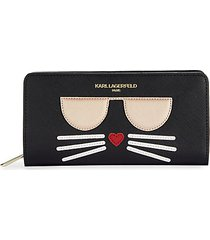 choupette patch continental faux leather wallet