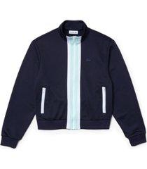 lacoste colorblocked fleece track jacket