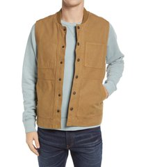 men's madewell flannel-lined canvas workwear vest, size xx-large - brown