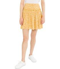 hippie rose juniors' smocked-waist floral-print skirt