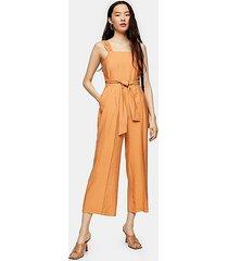 apricot wide leg tie waist jumpsuit - apricot
