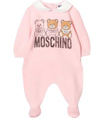 moschino pink romper with frontal toy press