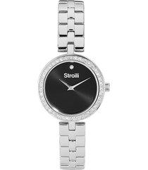 orologio solo tempo con cinturino e cassa in acciaio e strass, quadrante nero – 1661128 per donna