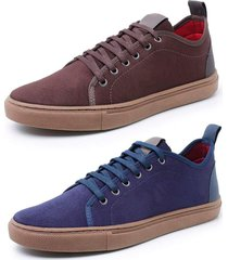 kit 2 sapatenis sandalo levit cafe e azul