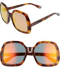 women's gucci 58mm irregular square sunglasses - havana/ orange mirror