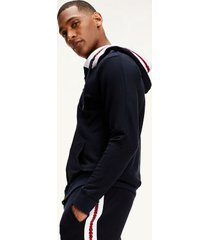 tommy hilfiger men's logo lounge hoodie navy - l