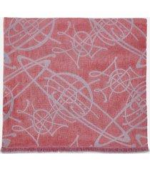 vivienne westwood women's scribble logo scarf - red