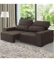 sofá 2 lugares relax retrátil e reclinável marrom - viero móveis