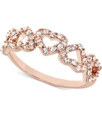 charter club rose gold-tone pave open heart ring, created for macy's