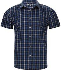 camisa hombre m/c a cuadros color azul, talla l