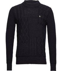 bogard cable knit stickad tröja m. rund krage blå morris