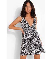 luipaardprint swing jurk met bandjes en laag decolleté, black