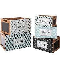 skrzynia 5 szt. komplet pudełka vintage