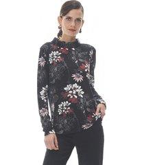 sweater camant i negro flores corona