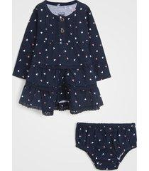 vestido tip top infantil poá com tapa fralda azul-marinho - tricae