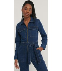 na-kd trend jumpsuit i denim med dragkedjedetalj - blue