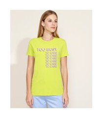 "t-shirt feminina mindset too busy to care"" manga curta decote redondo verde"""