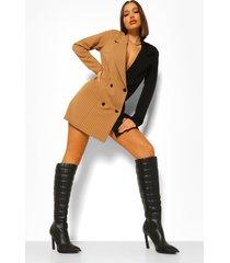 oversized gesplitste blazer jurk met krijtstrepen, black