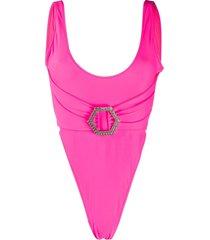 philipp plein branded monokini - pink