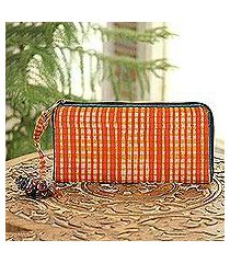 batik cotton wallet, 'scarlet plaid' (india)