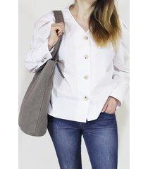 shopper bag xl taupe torba z grubej bawełny