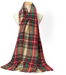 donna sciarpa tessuta scozzese calda a quadri tappettino scialle invernale a scacchi