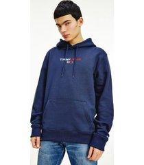 tommy hilfiger men's linear logo hoodie twilight navy - xxl