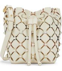 zac zac posen women's faux pearl-embellished drawstring leather crossbody bag