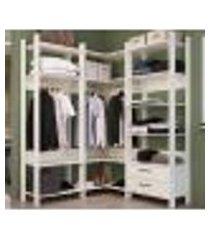 conjunto de closet modulado para quarto cbcla04 off white completa moveis